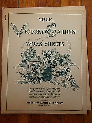 Vtg Booklet Your Victory Garden Work Sheets WWII Beech-Nut Packing ORIGINAL
