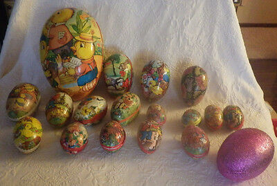 Vintage Lot 18 Paper Papier Mache Easter Egg Chicken West Germany Varies Sizes