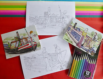 Narrowboat Themed Colouring Card Gift Set. Therapy. Colour. Water. Boat. Canal