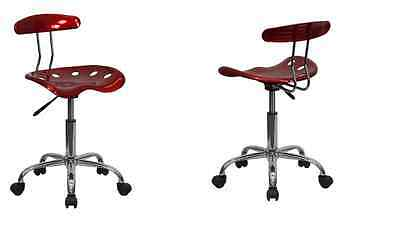 Tractor Seat Stool Wine Red Adjustable Office Furniture Garage Rolling Work Chai