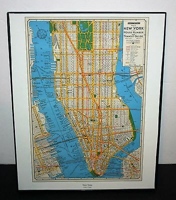 """Hagstrom's Map Of New York House Number And Transit Guide Circa 1946  14"""" x 11"""""""