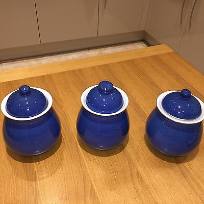 SET of 3 Denby Imperial Blue jars with lids, in mint cond, 1st.