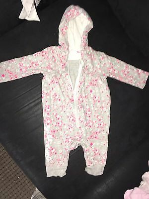Baby Girls Pineapple All In One Thin Coat/ Babygrow 0-3 Months
