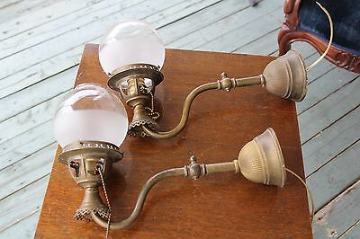 Antique Pair Of Wall Sconce  Gasolier Old Gas Sconce Now Electric Ball Shade