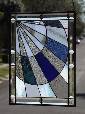 "• Beautiful Rays • Beveled Stained Glass Window Panel • ≈20 ½"" -17 ½"""