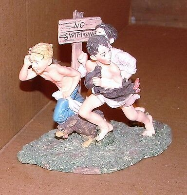 Norman Rockwell  No Swimming Boys Will Be Boys  1992 Figurine