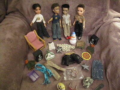 Large Bundle Of Assorted  Boy Bratz Dolls, Clothes And Accessories -