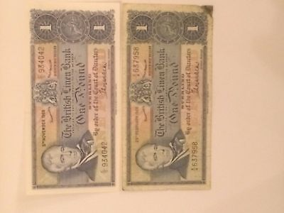 2 x £1 The British Linen Bank Notes