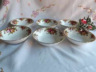 Beautiful Vintage Royal Albert Old Country Roses Set Of 6 Desert/cereal Bowls