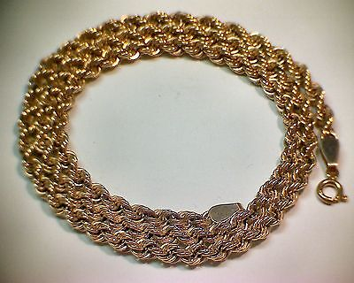 """9ct Gold, Rope Chain Neclace, 20"""" Long, 4mm diameter."""