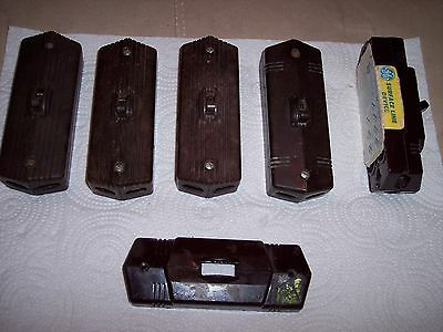 5 Vintage Brown Bakelite Surface Mount On/Off Electric Switches & one Cover