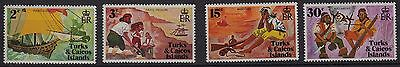 V5) x4 TIMBRES stamps (Neuf**MNH TBE) TURKS-CAICOS ISLANDS Pirates History 1970