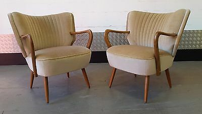 Pair of Vintage Retro Cocktail Armchairs Chairs Design Mid Century Renovated