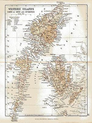 An antique map of the Western Isles of Scotland,dated 1884.