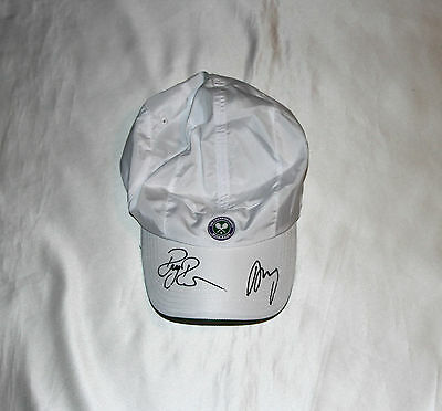 Roger Federer & Andy Murray Signed Wimbledon Tennis Cap with COA