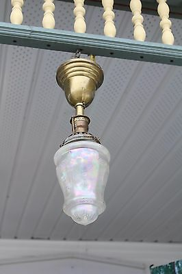Antique Pendant Ceiling Light Fixture Iridescent Cut Glass Shade  Porch Entry