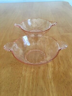 Pink Depression Glass 2 Berry/ Desert Bowls With Handles Thumbprint Design