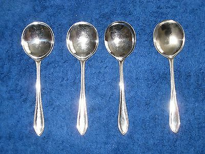 A Set Of 4 Vintage Chromium/ Stainless Nickel Silver Sheffield  Dessert Spoons.