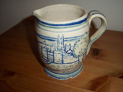 "Antique blue and white pottery jug,  ""the young squire"" from Canterbury tales."