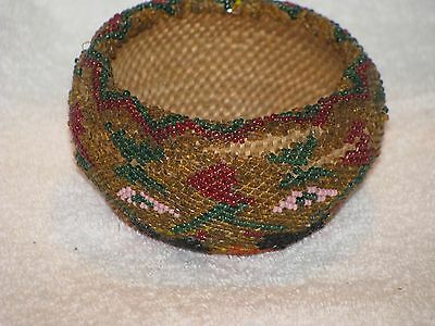 "Eye-Catching Paiute Beaded Basketry Bowl, 2.5"" x 4"""