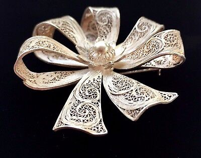 Vintage Estate Sterling Silver Ribbon Filigree Pin Brooch Unknown Mark