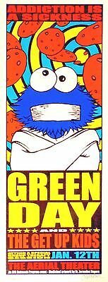 Green Day Poster ORIGINAL Concert Print s/n by Jermaine 2001 Cookie Monster