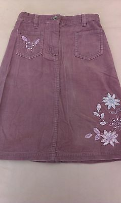 Next-Immaculate Lilac Embroidered Corduroy Skirt-Age 5/110 cm