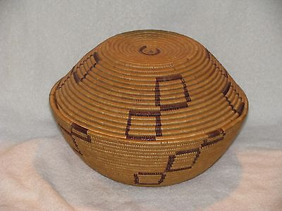 "Unusual Eskimo Covered Basketry Bowl 7"" x 10.5"", nice Condition, Make Offer"