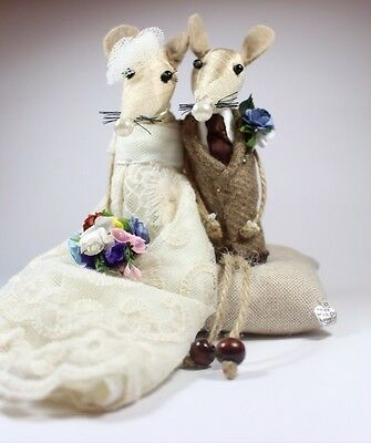 Personalised/ Custom made Bride & Groom Mice Mouse Cake Topper /Cheese Wheel