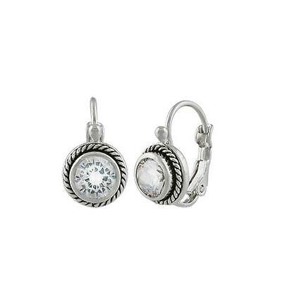 CLASSIC 18kt White Gold Plated Cable Clear CZ Crystal Petite Dainty Earrings