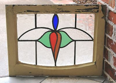 Antique English Wood Framed Leaded 5-Color Stained Glass Window Art Deco #3