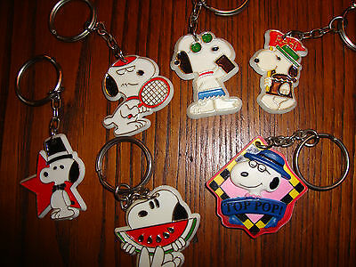Vintage Snoopy Key Chains Lot of 6