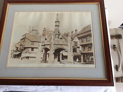 Framed mounted print of Salisbury Town Centre c 1900, not antique