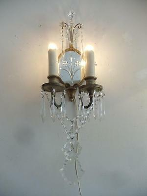 Antique Shabby French Chic Mirrored Brass & Crystal Chandelier Sconce Wall Lamp