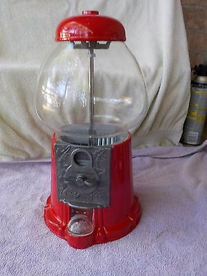 """Gumball Machine Glass N Metal Houstons Any Coin 14"""" Mid 1980`s Working Clean"""