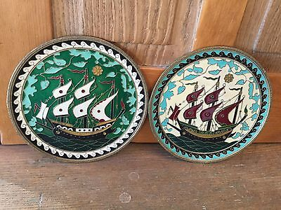 Pair Vintage Enamel on Solid Brass Hanging Plates w/ Ship Motifs Made in Greece