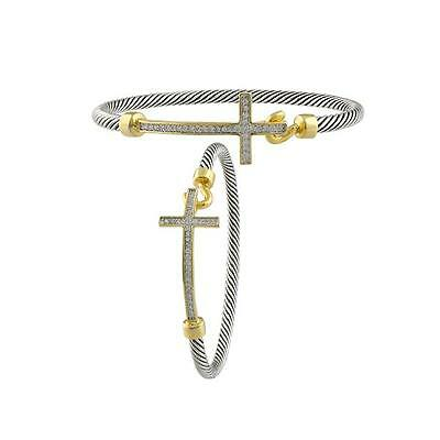 GORGEOUS 18kt Gold Plated CZ Crystals Cross Silver Cable Bracelet