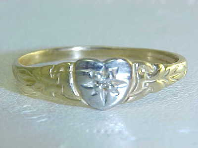 BABY RING w/ GEN DIAMOND /  CHILD'S GEN DIAMOND RING 10K GOLD 2-TONE  SZ 1 1/2