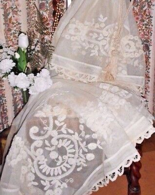 "antique edwardian cream applique tambour crochet net curtain 132"" x 54"""