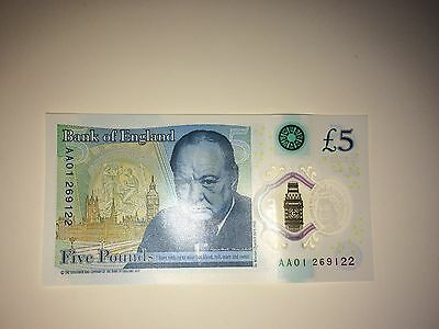 New Five Pound Note AA01 269 122