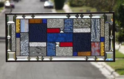 """••Declaration••Beveled Stained Glass Window Panel • 24 1/2""""-10 1/2"""""""
