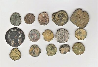 (Lot Of 15)  Roman Coins 100-400 A.d. To Clean & Identify  1600-1900 Years Old