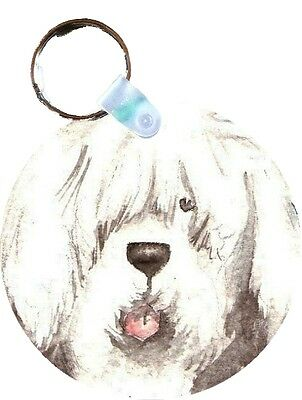 OLD ENGLISH SHEEPDOG OES SHEEPIE ROUND  key chain  by Amy Bolin