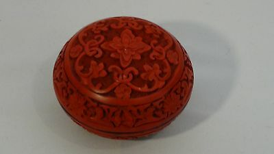 Antique Chinese carved red cinnabar high relief round box floral pattern