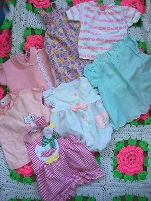 Vtg 24 Piece Baby Girl Clothing Lot 6m 9m 12m Rompers Disney Dresses Shirts