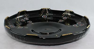 Round Shallow Amethyst Black Glass Serving Bowl-Daisies-Gold Trim Accents-9 1/4""