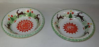 "2 Midwest Bowls Christmas Tree & Reindeer 8 1/4"" Made in Italy"