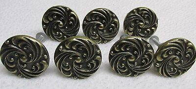 7 Antique Brass PAT PENDING Handle Dresser Cabinet Pulls Knobs