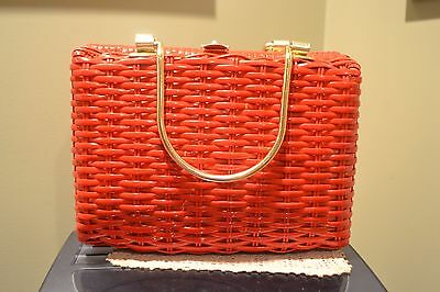 Vintage Wicker Straw Purse Red w/ Brass Made in Hong Kong