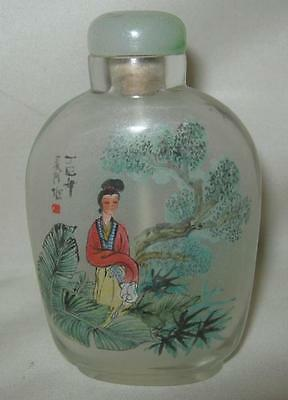 Vintage Glass CHINESE SNUFF BOTTLE Green  w/ Floral Motif